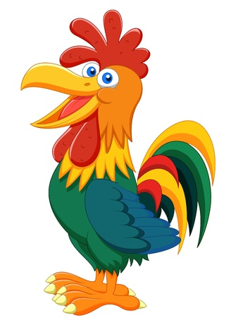 yellow character: Rooster cartoon
