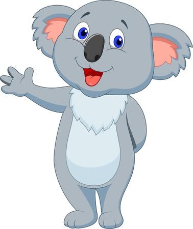 かわいいコアラ漫画手を振りながら  イラスト・ベクター素材