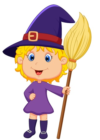 Cute cartoon witch  Vector