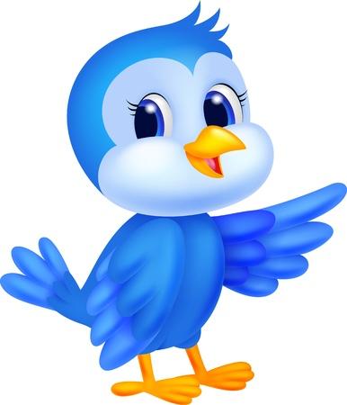 pajaro caricatura: Lindo pájaro azul ondeando dibujos animados