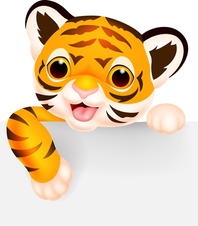 Cute tiger cartoon with blank sign  Vector