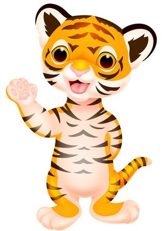 cute: Bebé lindo que agita tigre de la historieta