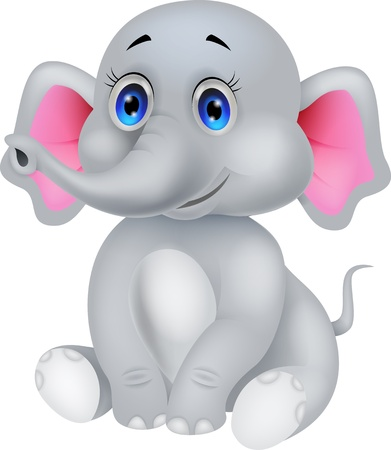 Cute baby elephant cartoon  Vector