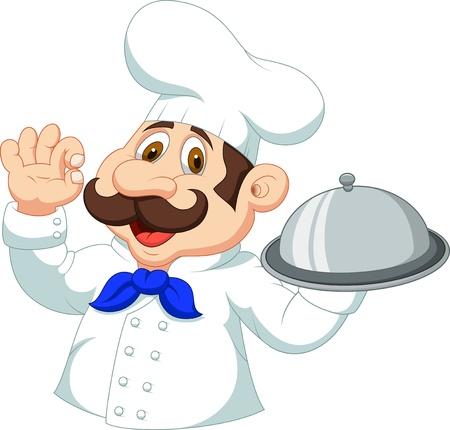 chapeau chef: bande dessin�e de chef avec signe ok Illustration