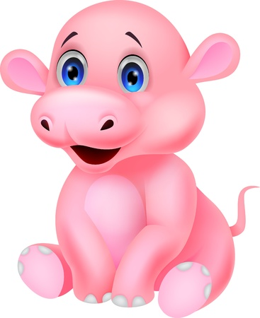 Cute baby hippo cartoon  Vector