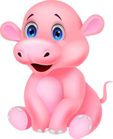 hipopotamo caricatura: Lindo beb� hipop�tamo Vectores