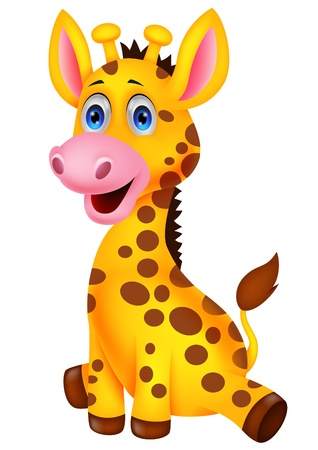 safari animal: Cute baby giraffe cartoon