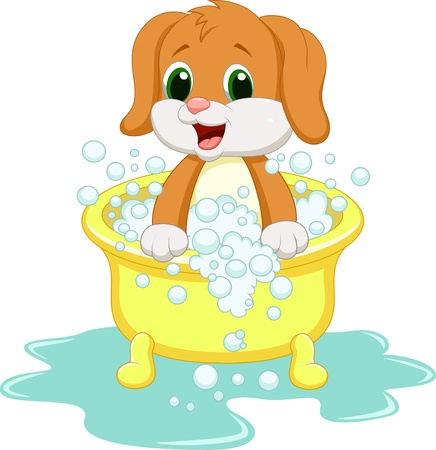 bathing man: Dog cartoon bathing