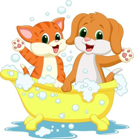 かわいい漫画の猫と犬の入浴時間  イラスト・ベクター素材