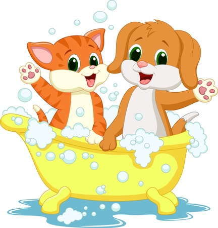 Cute cartoon cat and dog bathing time Illustration
