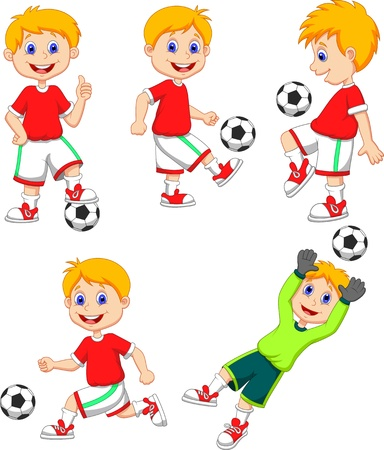 children at play: Boy cartoon playing soccer  Illustration
