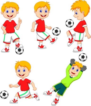 Jongen cartoon voetballen