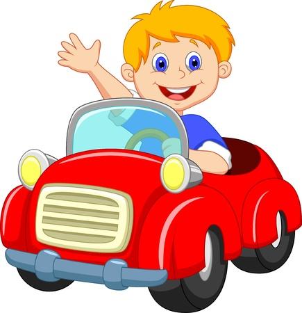 auto illustratie: Jongen cartoon in de rode auto