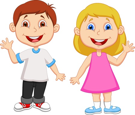 young girl: Cartoon boy and girl waving hand