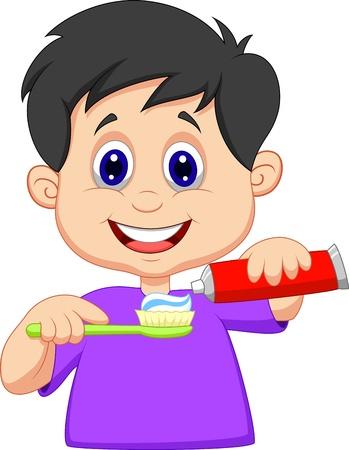 dientes caricatura: Historieta del cabrito apretando pasta de dientes en un cepillo de dientes Vectores