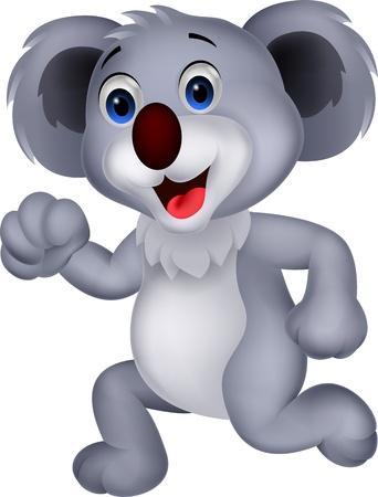 Cute koala cartoon running  Ilustração