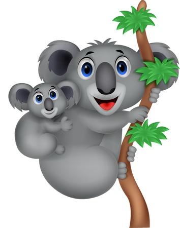 koalabeer: Moeder en baby koala cartoon Stock Illustratie