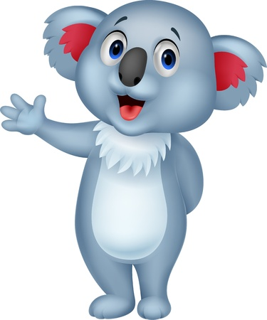 Cute koala cartoon hand waving  Vector