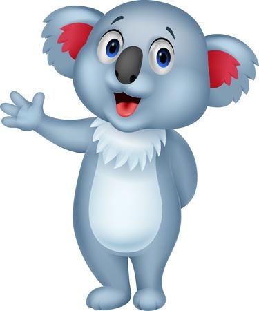 koala bear: Cute koala cartoon hand waving