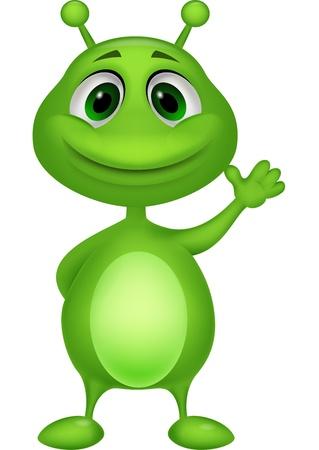 Carino verde alieno cartone animato