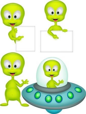 Cute geen alien cartoon collection set