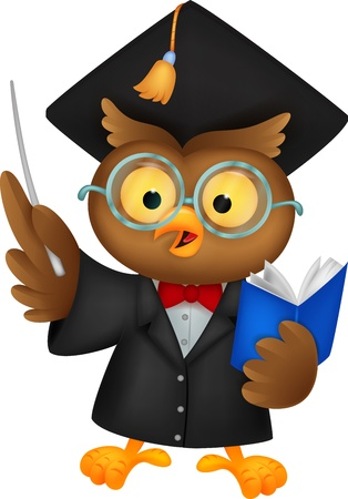 test glass: Owl cartoon wearing a graduation uniform giving a presentation
