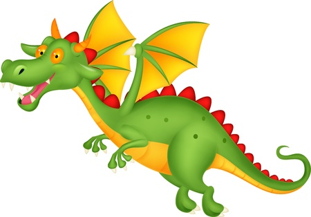 Cute dragon flying  Vector