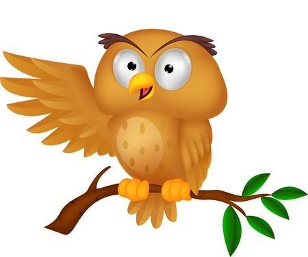 Cute owl cartoon waving  Vector