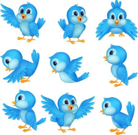 可愛い青い鳥漫画  イラスト・ベクター素材