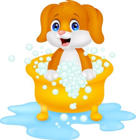 Dog cartoon bathing