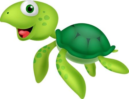 green turtle: Carino tartaruga di mare del fumetto