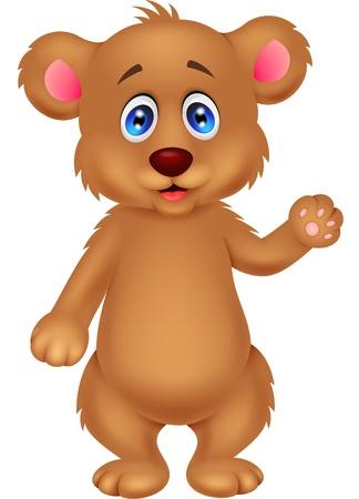 baby bear cartoon: Cute baby bear waving hand