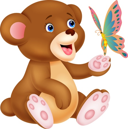 waiving: Cute baby bear playing with butterfly Illustration