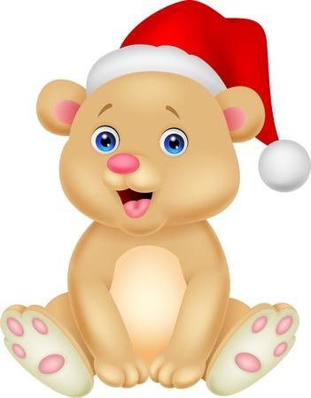 osos navideños: Bebé lindo oso de dibujos animados que se sienta