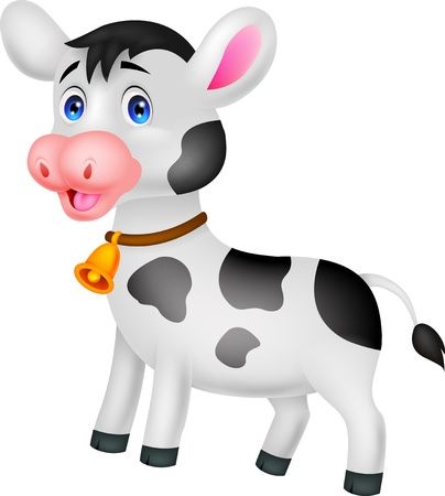 animals horned: Cute cow cartoon  Illustration