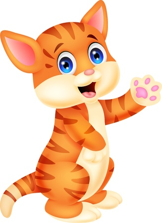baby animal cartoon: Cute baby cat cartoon  Illustration