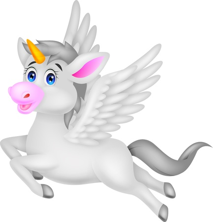 Gray unicorn horse cartoon  Vector
