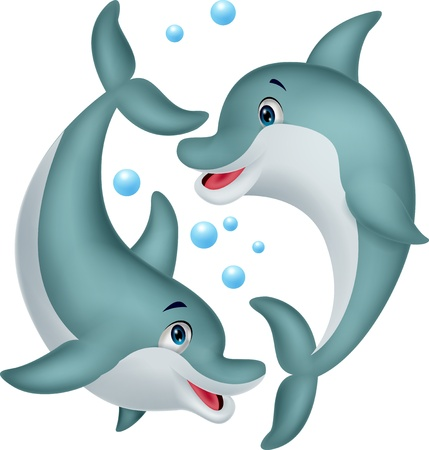 Cute dolphin couple cartoon  Vector