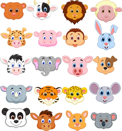 cartoon monkey: Cartoon animal head icon