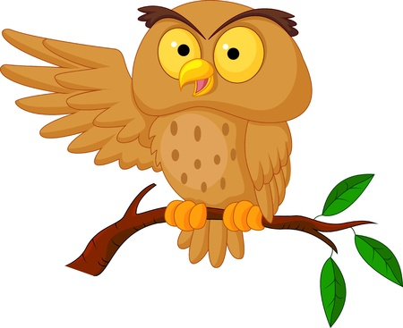 brown: Cute owl cartoon waving