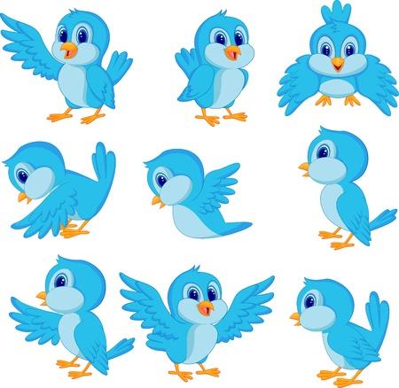 bird: 귀여운 블루 버드 만화