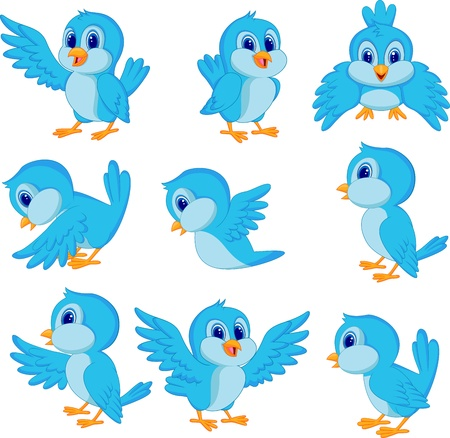 vol d oiseaux: Cute cartoon oiseau bleu