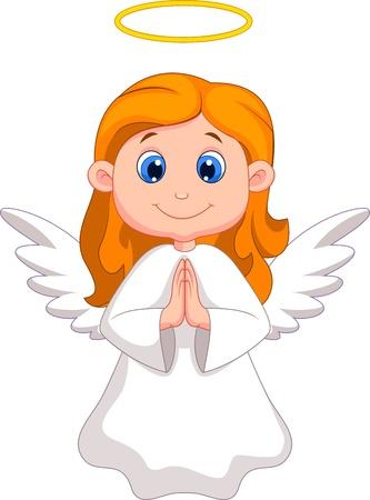 cielo: Historieta linda del ángel Vectores