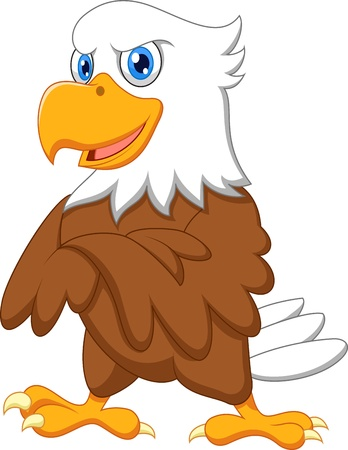 Leuke eagle cartoon poseren Stock Illustratie