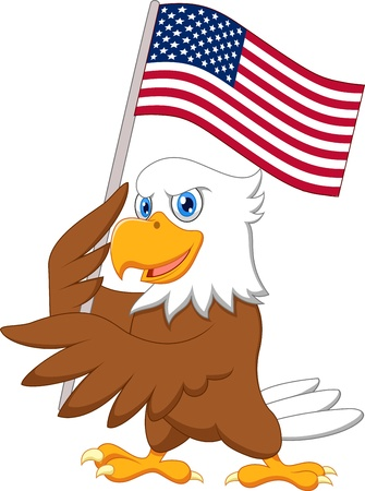 Eagle cartoon holding American flag  Vector
