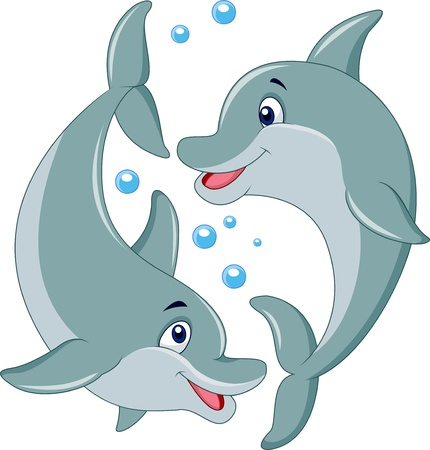Cute dolphin couple cartoon Çizim