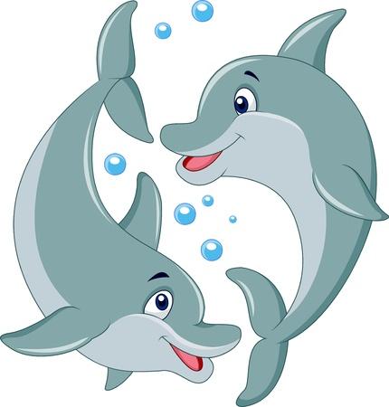 Leuke dolfijn paar cartoon