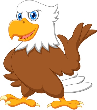 eagle feather: Cute eagle cartoon waving