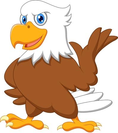 schattige dieren cartoon: Leuke eagle cartoon zwaaien
