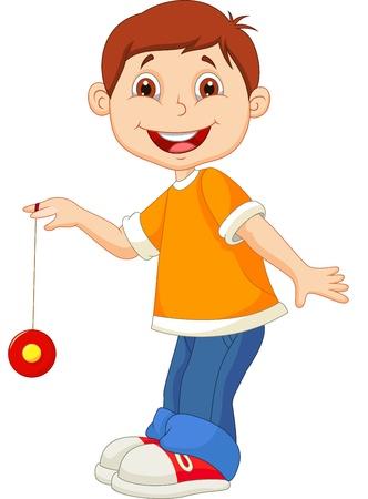 cartoon jongen: Jongetje cartoon spelen yo yo Stock Illustratie